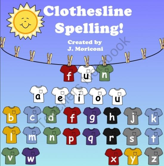 This is for a smart board But it would be cute and fun to set up a clothesline and have the kids hang up the letters to practice spelling words.