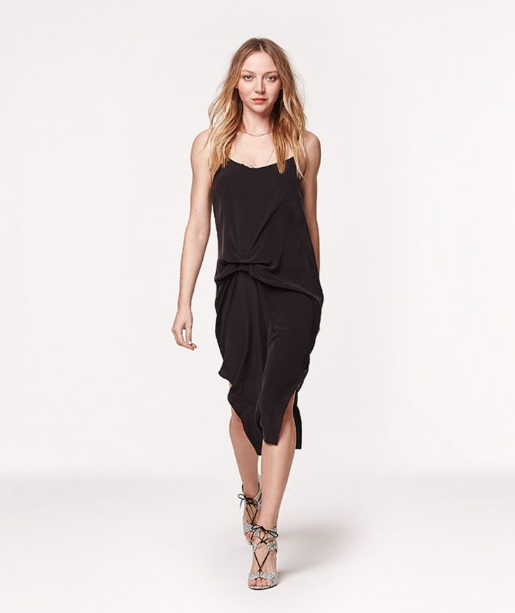 The black slip dress is having a major fashion moment this season. Our Anna dress in black silk CDC features adjustable thin straps, double side splits, gathered front and is loosely cut to flatter any body shape.