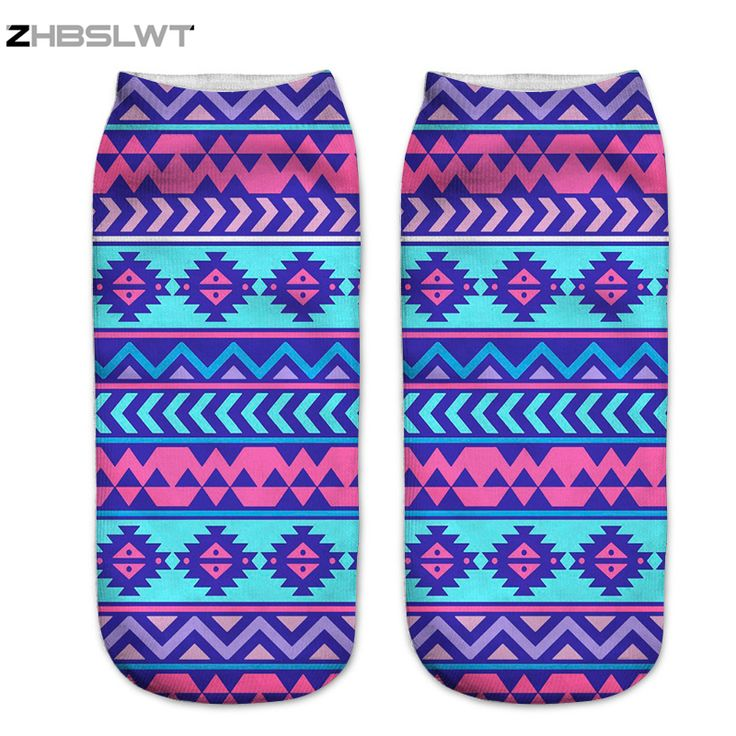 ZHBSLWT New 3D Print Aztec Pink Purple Women Socks Low Cut Ankle Comfortable Hosiery Medias Calcetines Calzini Chaussette -8 #Affiliate