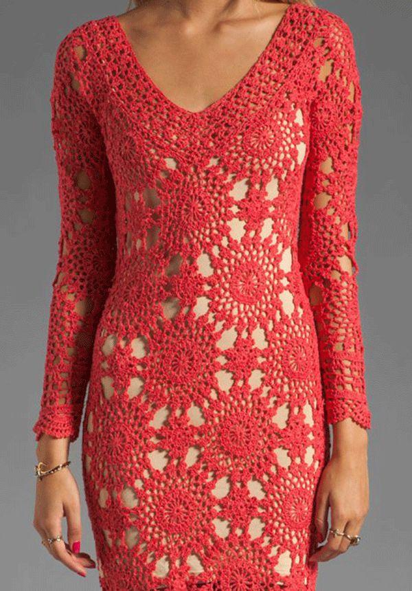 crochet coral dress todo el diagrama de manga corta
