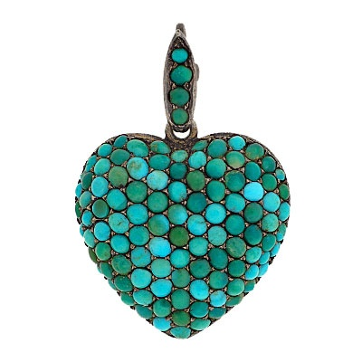 Victorian Sterling Pave Set Turquoise Heart Locket/Pendant c. 1880