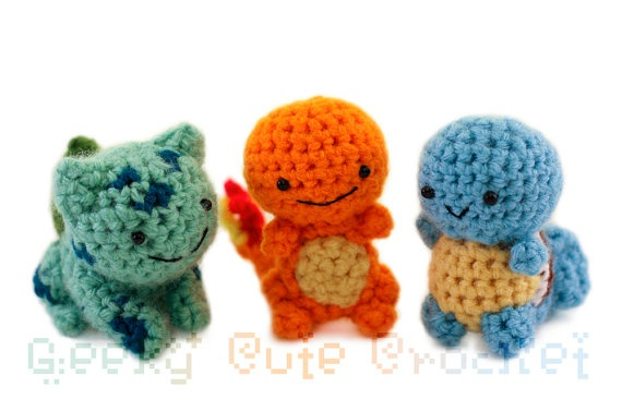 This etsy artist is what I want to become! Makin' geeky crafts~ http://www.etsy.com/listing/79630616/kanto-starter-pokemon-set-amigurumi-made