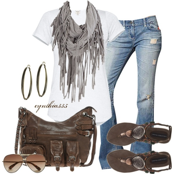 Tassel Scarf (S by Standards & Practices Destructed Flare Jean $20)