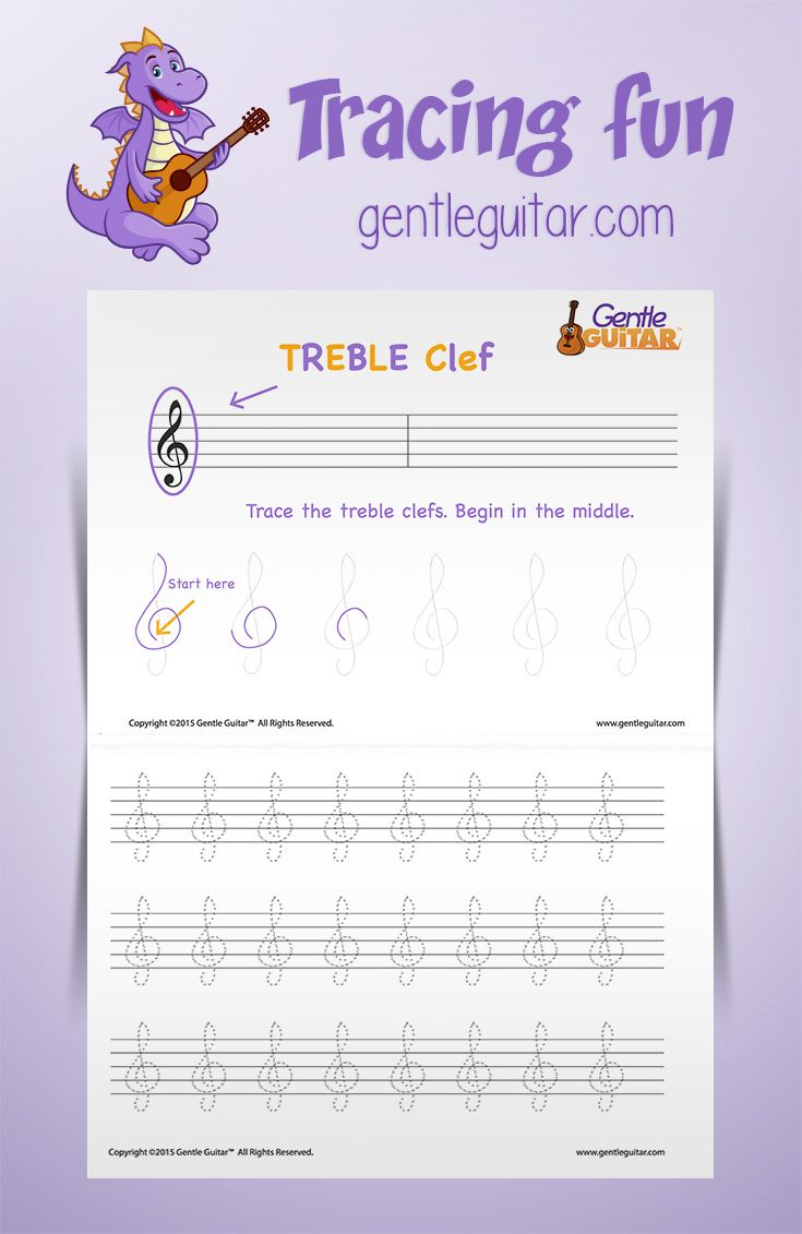 Music written activity for kids tracing the Treble Clef ...