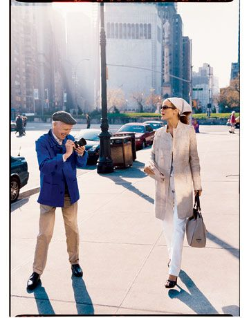 Bill Cunningham is a photographer I LOVE! He rides his bike in NY City to photograph fashion styles for a spread in the NY Times Newspaper. *Watch his documentary!