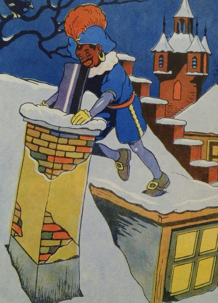 Zwarte Piet op het dak