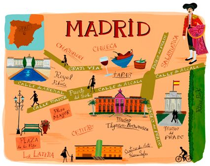 Funny map of madrid main avenues and places you can't forget to visit.