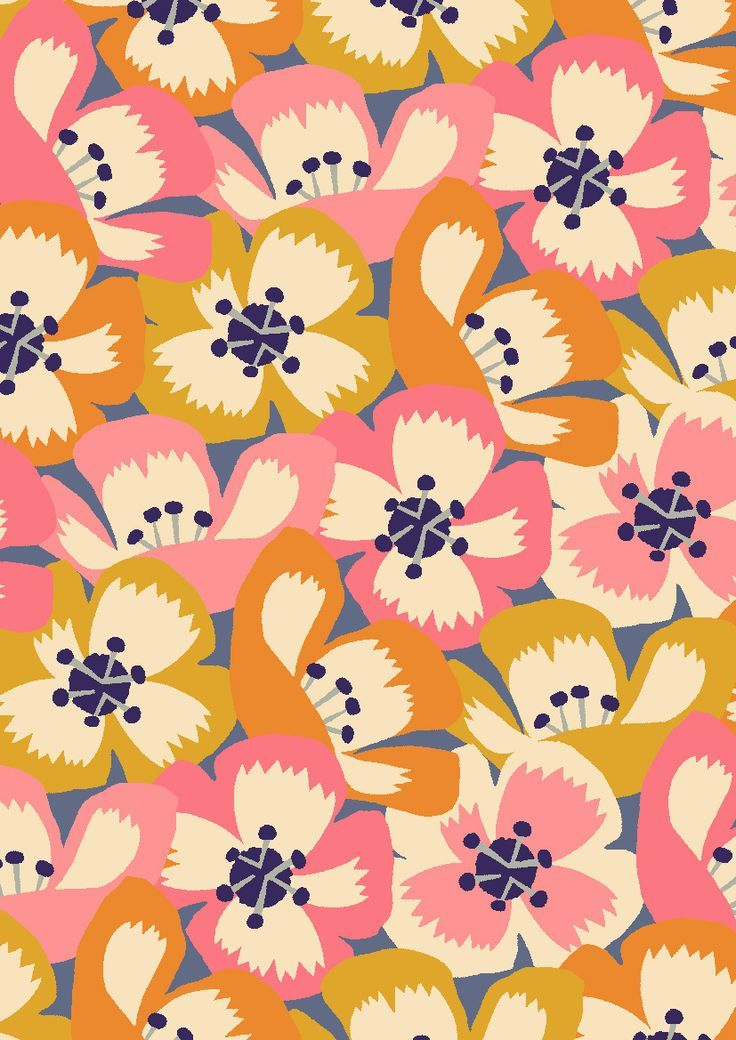 pattern by Minakani how beautiful, love everything, the use of colour, the simplicity, flower faces and profiles, very clever