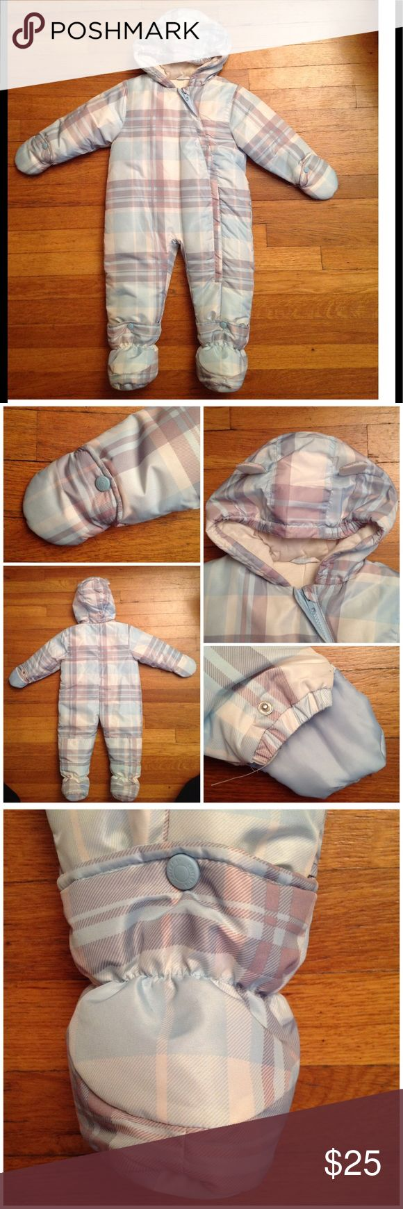 Onesie puffer plaid coat Curved zipper design at the front. Snap mittens, snap booties. Hood with cute ears design. Baby blue light grey and white plaid design. Puffer, with tee shirt fabric cotton lining.  Brand new no tags. Unisex Jackets & Coats Puffers