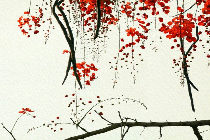 Quality Red Blossom Mural, custom made to suit your wall size by the UK's No.1 for wall murals. Custom design service and express delivery available.