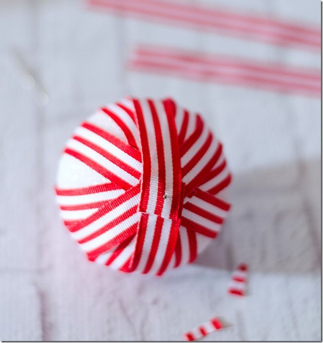Red & White Ribbon Wrapped Ornaments