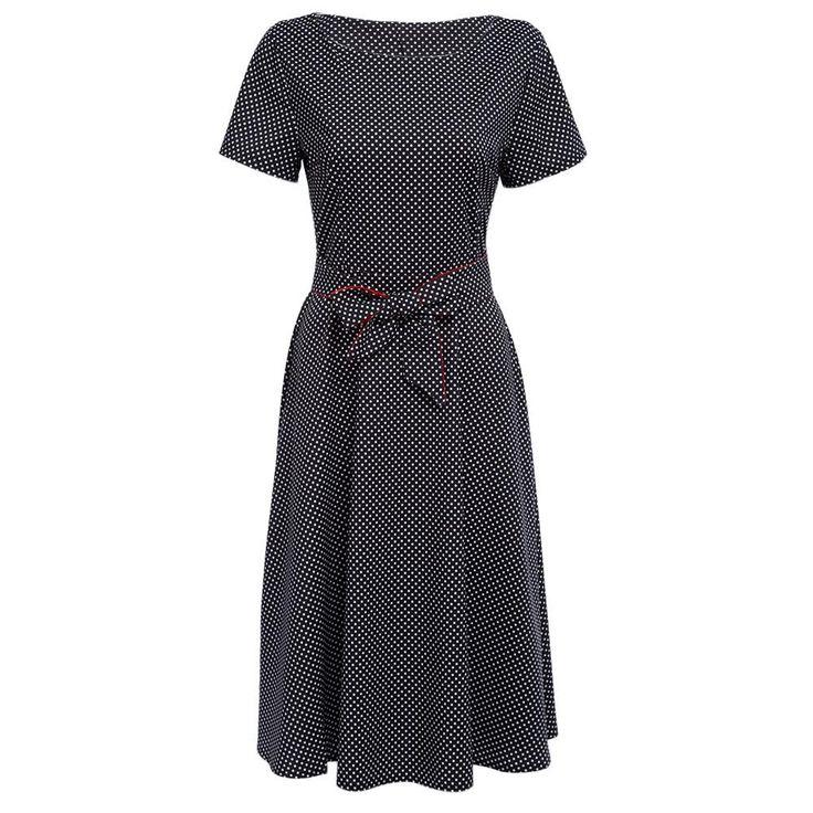 Free shipping Casual Dot Print Women Dress  O-Neck Elegant Party Tunic Summer Dress With Belt  vintage Dress  Vestidos