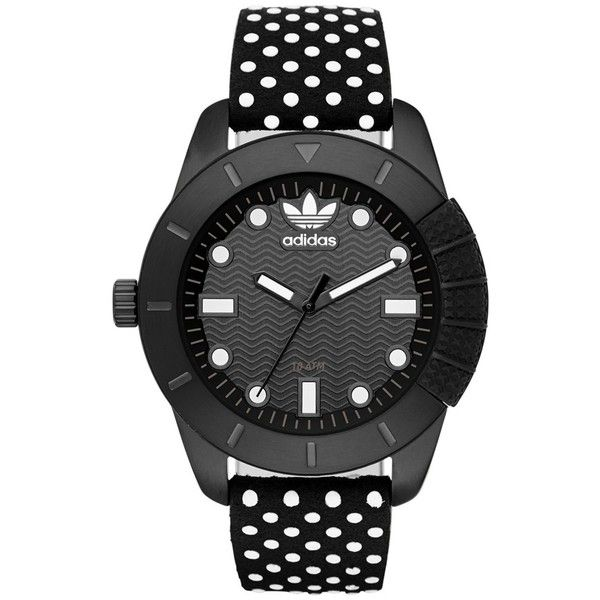 adidas Originals 'ADH-1969' Leather Strap Watch, 42mm found on Polyvore featuring jewelry, watches, accessories, leather-strap watches, water resistant watches, sporty watches, dial watches and adidas originals watches