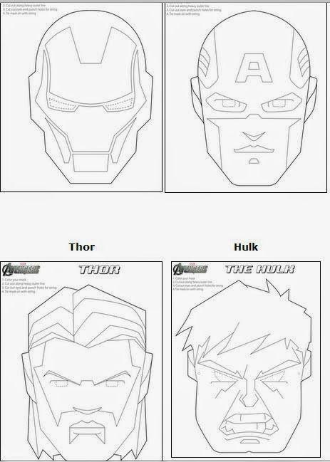 Máscaras de los Vengadores para Colorear. | Ideas y material gratis ...