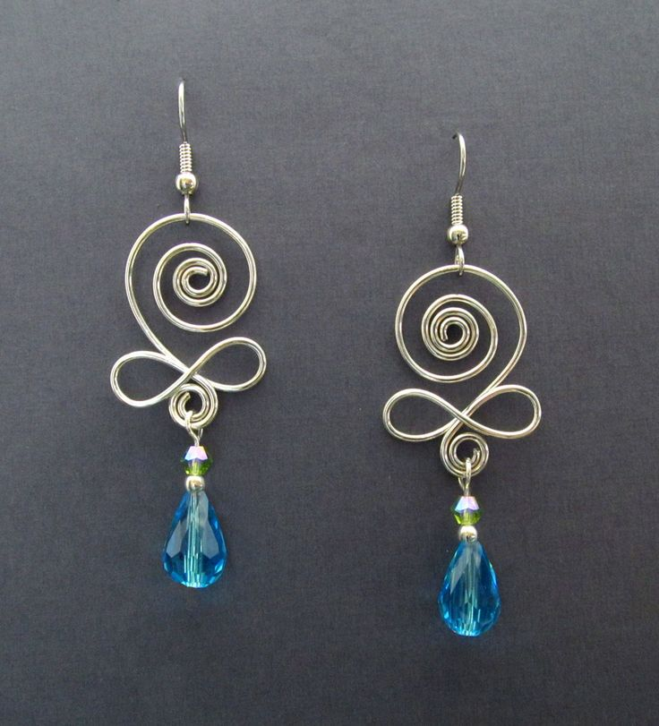 """Musical"" Argentium Sterling Silver Earrings with Glass Beads"