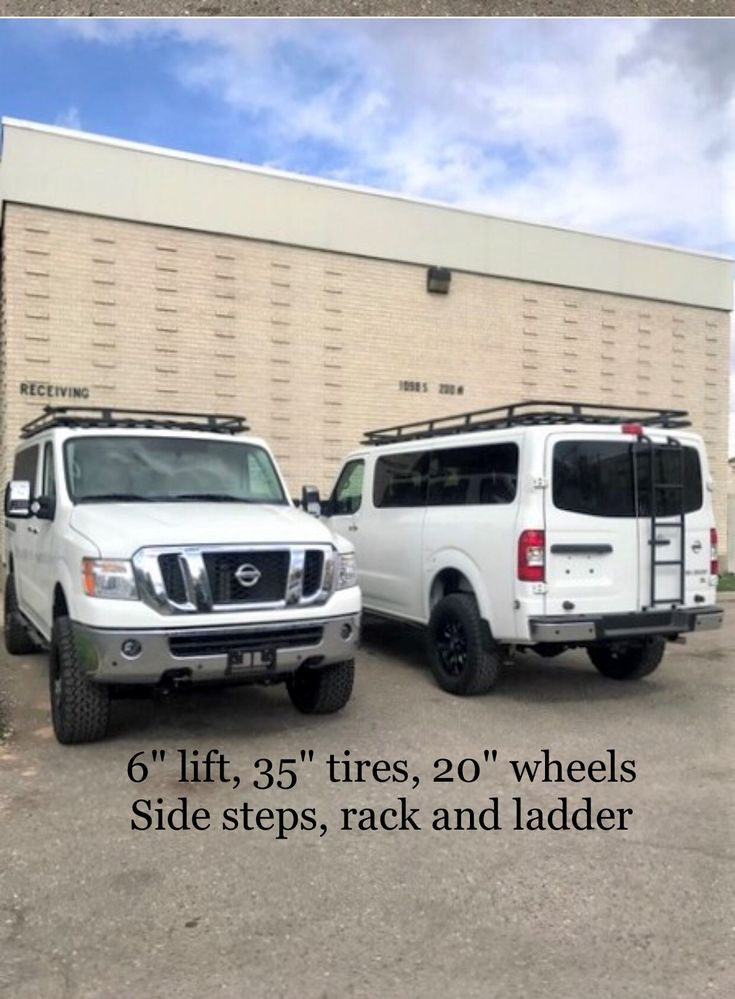 Nissan NV 3500, 4×4 by Advanced in Salt Lake City, 6″ lift, 35″ tires, 20″ wheels, Aluminess Rack, Side Steps and Ladder by Advanced 4×4 in Salt Lake …