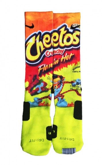 My son would die!!! These are his fav chip...Hot Cheetos Nike Elites