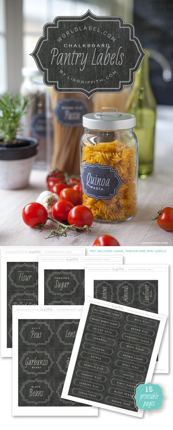 Free printable chalkboard pantry labels - love these!