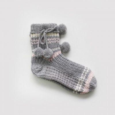 Redcurrent Grey Pompom Sofa Socks $19.90.