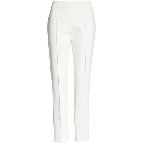 Women's Akris 'Melissa' Slim Techno Cotton Pants (75590 RSD) ❤ liked on Polyvore featuring pants, off white, off white pants, tailored pants, slim pants, slim trousers and slim fit pants