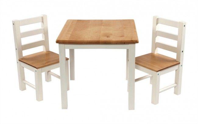 Zweifarbiger Kindertisch mit Stühlen im Set_Modell Nathalie