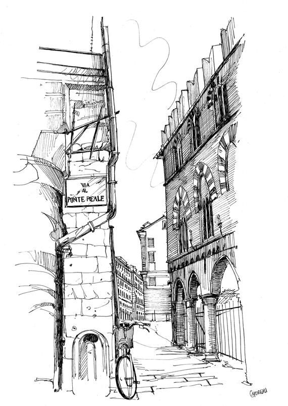 Drawing Downtown Genoa Urban Sketch Old City Of Genoa Drawing