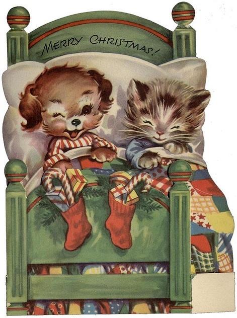 "vintage dog & cat Christmas card ""Merry Christmas"""