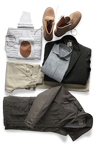 One pair of pants, two tops, a coat, a jacket = 9 separate looks for most weather, casual & put together. Pack light, look good for days.