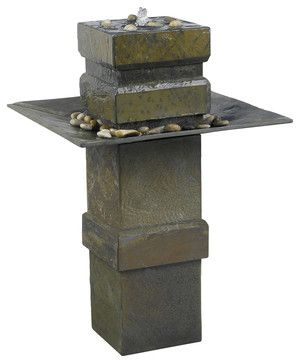 Kenroy 53210SL Cubist Floor Fountain - transitional - Outdoor Fountains And Ponds - Lighting Front