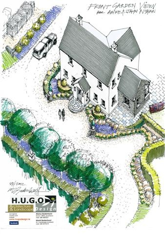 Front garden landscape design to existing dwelling near Riverview, Co.Cork by Hugodesign
