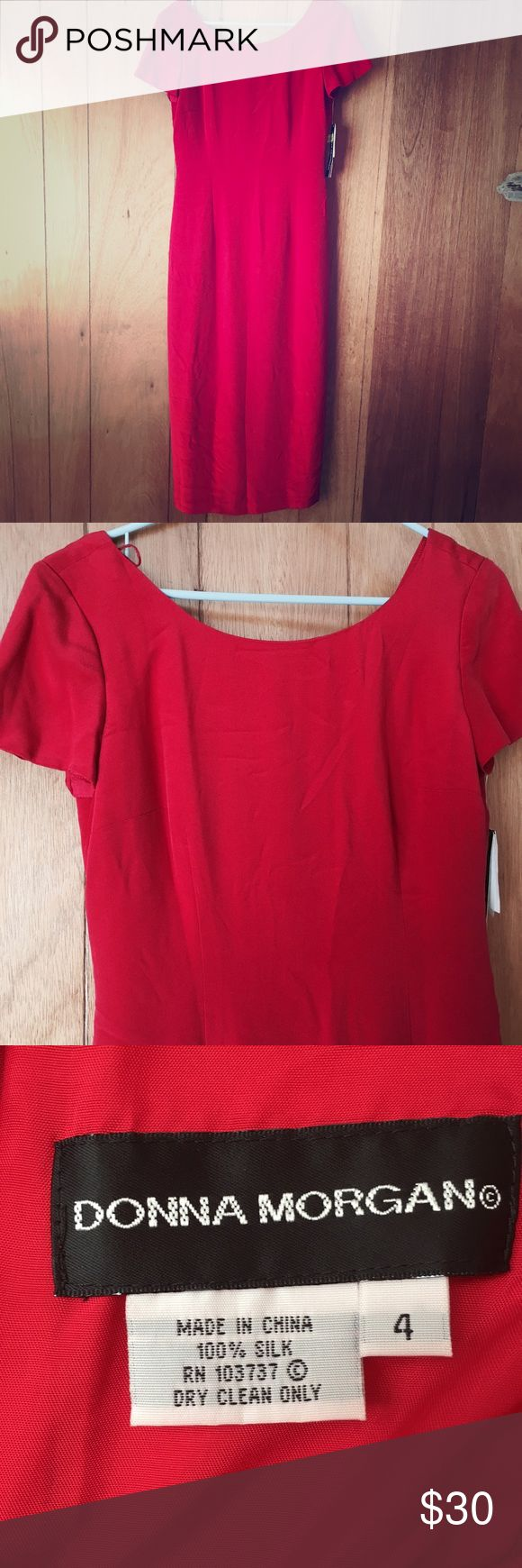 "100% Silk Donna Morgan Midi Occasion Dress Donna Morgan 100% silk dress. Red/pink/strawberry color. Midi Length. Sleek sheath silhouette. Short sleeves. I can't model, not my size. Inside is lined. Back zipper. Button detail. 16"" back slit. Dry clean only. A great dress for a Maid of Honor, or bridesmaid. There are some wrinkles from storage, but it would just need a steam. Could also be easily fitted. Top 3 pictures show the dress true to color. Make an offer! Shoulder to hem 49"", waist 15""…"