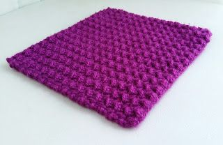 خطوات عمل مربع كروشيه غرزة الموس   Crochet Moss stitch square