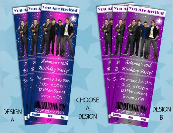 PRINTABLE Big Time Rush Inspired Ticket Style Invitations customized with your personal party details.  By sweete1976.
