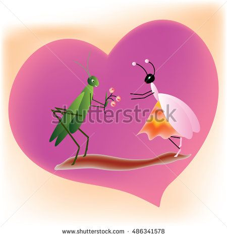 #Cricket offering #flowers to a queen #ant on a purple #heart shape background