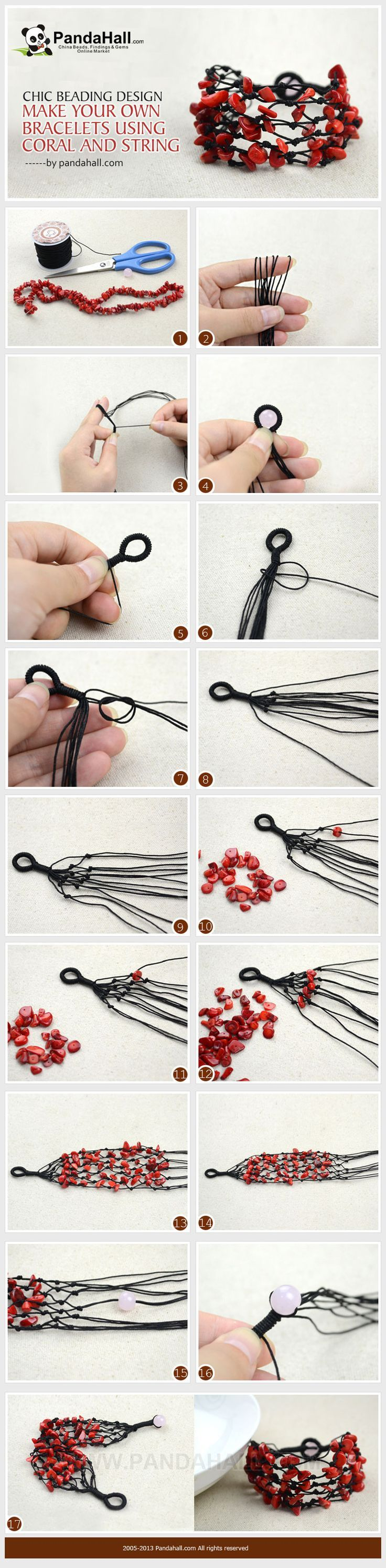 DIY Bracelets ~~ Using Coral Beads and String ❥ 4U // hf