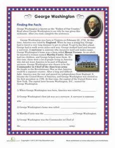 George Washington Facts Worksheet