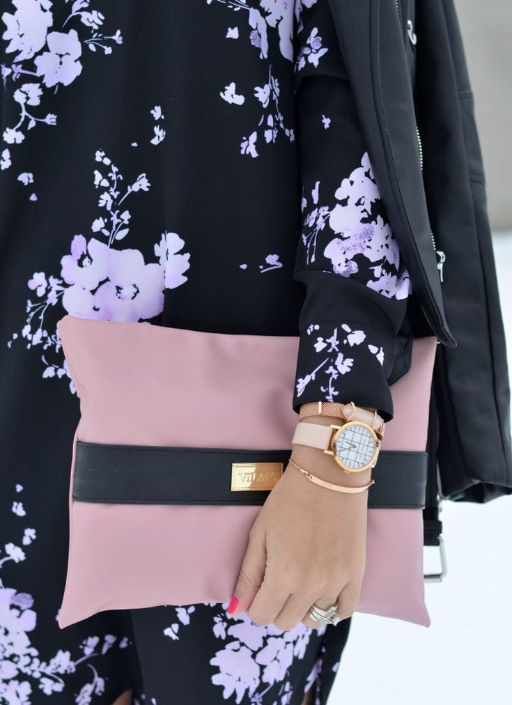 """""""Self confidence is the best outfit. Rock it. Own it"""" Featuring the pink clutch. Shop at http://vilmaboutique.com ."""