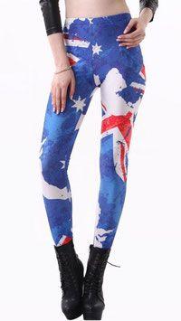 Vlaggen print legging Australië in een Australische design. Deze print legging is gemaakt van een soepele stretch kwaliteit voor een comfortabele pasvorm. #kadehandel #trendyleggingsfashion #leggings #vlaggenprint #australie