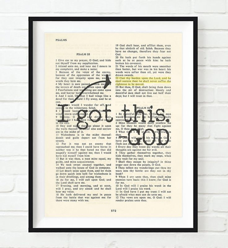 I got this- Psalms 55:22 -Vintage Bible Highlighted Verse Scripture Page- Christian Wall ART PRINT