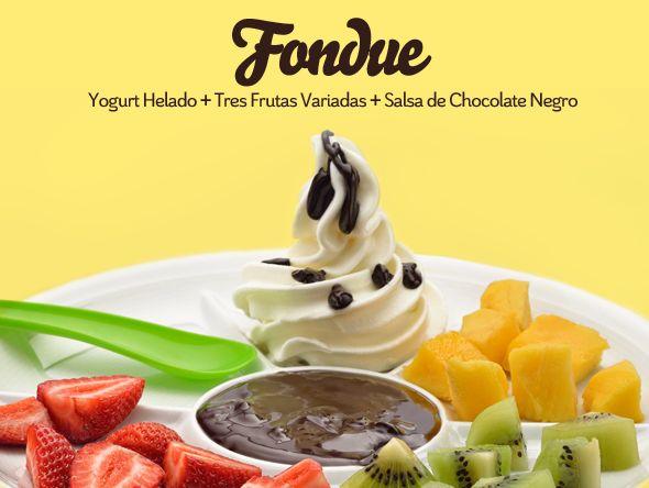 Winterllao | Yogur helado #llaollao. FONDUE. Yogurt helado + tres frutas variadas + salsa de chocolate negro