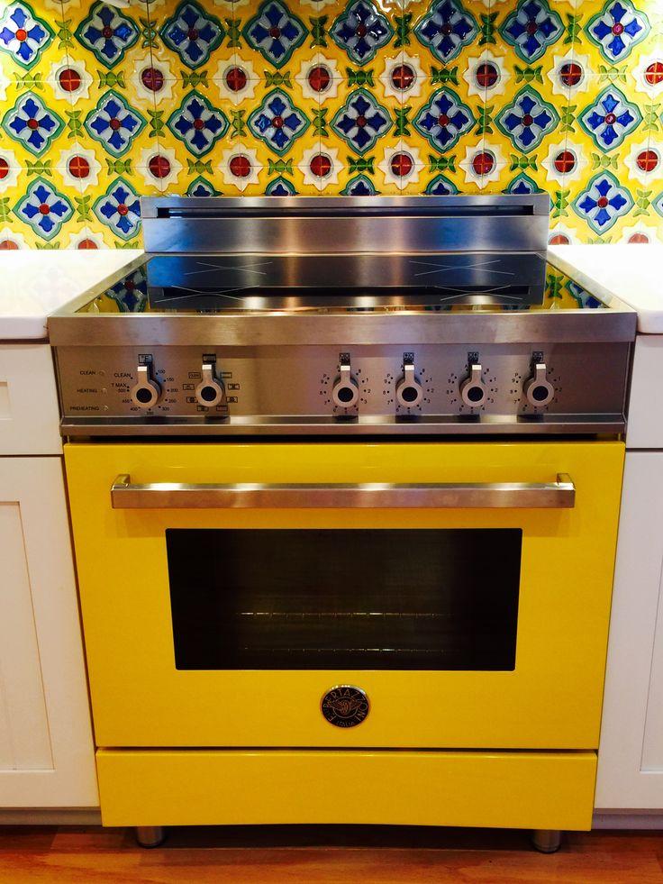 bertazzoni induction range with handmade california tile backsplash