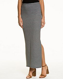 Stripe Jersey Side Slit Maxi Skirt
