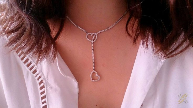 K18 Gold Necklace with Brilliants in heart