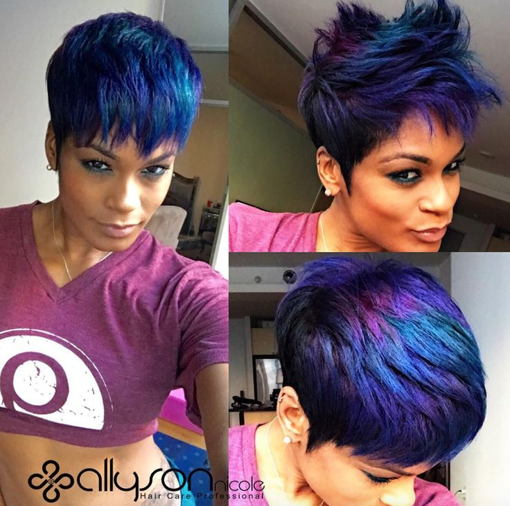 Funky hair color @modernsalon - http://community.blackhairinformation.com/hairstyle-gallery/short-haircuts/funky-hair-color-modernsalon/