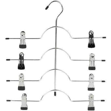 Sunbeam 4-Tier Chrome Hanger with Clips, Black PVC Coated, Multicolor