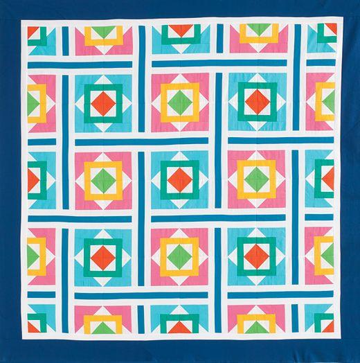 Quilt by Jocelyn Ueng in fabrics from Robert Kaufman Fabrics for QM's 2013 Staff Challenge. http://www.quiltmaker.com/blogs/quiltypleasures/2014/01/qm-staff-challenge-2/