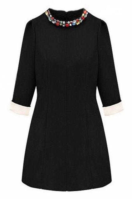 Rhinestone Embellishment Slim Black Autumn Dress