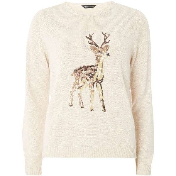 Dorothy Perkins Oat Sequin Reindeer Jumper found on Polyvore featuring tops, sweaters, shirts, blusas, christmas, beige, sequin jumper, sequin christmas sweaters, sequin sweater and pink sequin top