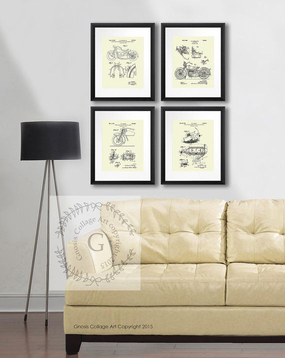 Harley Davidson posters set 4b set of 4 Cream by GnosisCollageArt