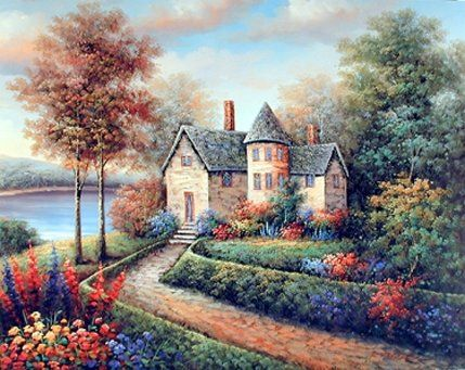 Stunning! Bring a cheer of nature into your home with this charming landscape fine art print wall poster. This poster captures the image of country cottage near the lake, beautiful flowers and the garden area near the cottage look so amazing and gorgeous that is sure to attract every eye toward this poster. This landscape poster is the wonderful way to enhance the beauty of your home décor. So Hurry up and buy this charming wall poster for its wonderful paper quality with a perfect color…